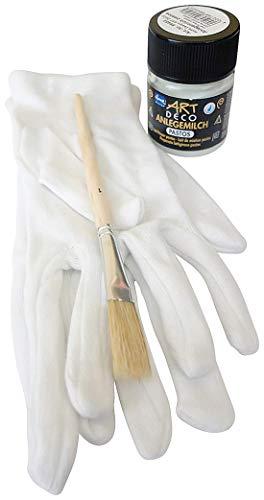 1 x Art Deco Anlegemilch Pastos 50 ml + 1 Paar Vergolderhandschuhe + 1 Pinsel