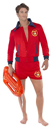 """Smiffys-20587L Licensed Dress-Up Licenciado Oficialmente Disfraz de Vigilante de la Playa de Baywatch, con Parte de Arriba y bermud, Color Rojo, L-Tamaño 42""""-44"""" (Smiffy"""