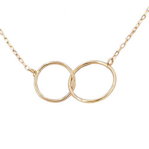 PRIORITY Gargantilla Doble Círculo Liso en Oro 18K Gargantilla Doble círculo, Gargantilla Doble círculo Oro, Gargantilla de Mujer Oro, Gargantilla de Mujer, Gargantilla para niña