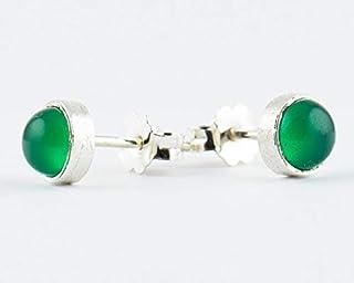 Pendientes de botón de plata esterlina de Onyx verde para mujeres