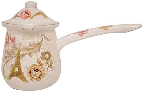 Dmqpp Turkish Coffee Pot 0,7 l Mini Emaille Milchtopf 0,5 l Weinlese-Butterdose mit Deckel hot Pot Topf (Color : White, Size : 700ml)