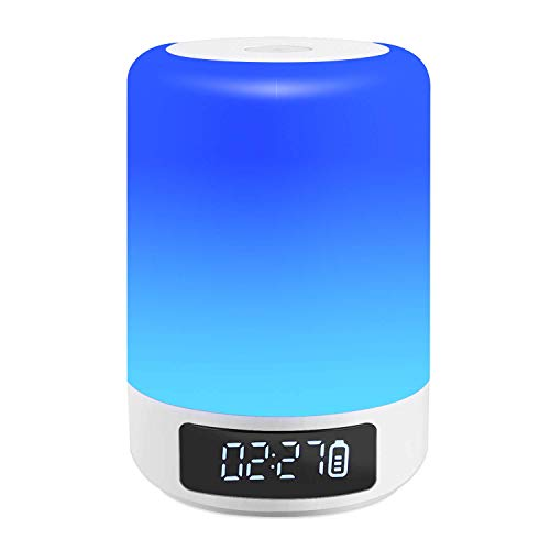 Touch Control Bedside Lamp with Wireless Bluetooth Speaker, Dimmable Warm White Table Lamp & RGB Color Changing LED Speaker Mood Light, Best Gift for Women Men Teenagers Children Kids Night Light