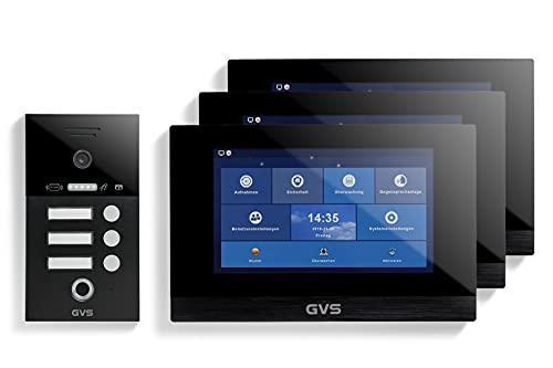 GVS IP Video Türsprechanlage, Unterputz-Türstation IP65 mit RFID und Fingerprint, 3X 10 Zoll Monitor, App, HD-Kamera 156°, Türöffner-Fkt, 32GB Speicher, PoE-Switch, 3 Familienhaus Set, AVS5271U