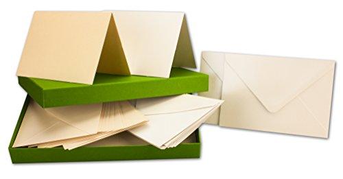 Perlmutt-Karten inklusive Briefumschläge mit Geschenkschachtel - 50er-Set - Blanko Pastellfarben Einladungskarten aus 2 verschiedenen Cremetönen - Gustav NEUSER C-Line