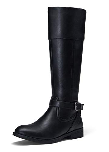 JEOSSY Women's 51 Riding Boots Calf Black Knee High Boots with Zipper Size 8(DJY951 Black 08)