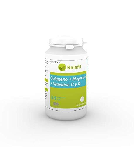 Colágeno con Magnesio y Vitaminas C y D – 180 Comprimidos | Relafit - Laboratorios MS | Suministro para 1 meses | Energía y Articulaciones y Músculos Fuertes