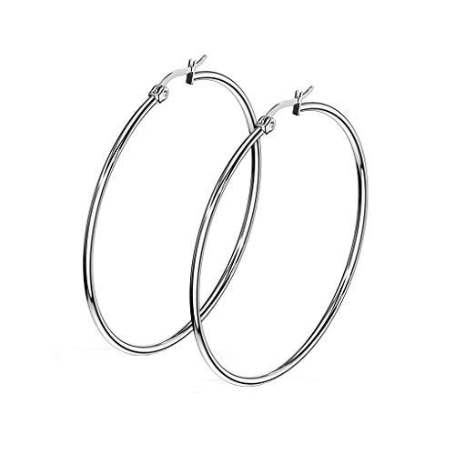 beyoutifulthings 1 Paar Damen Ohringe CREOLEN Ohr-ringe Ohr-stecker Chirurgenstahl Silber 55mm