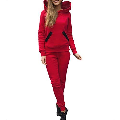 Traje de Ropa Deportiva con Capucha para Mujer - Chándal Completo Bolsillo de Moda con Manga Larga Tops + Pantalones con Bolsillos Jogging Sport Gym Juego de 2 Piezas más tamaños