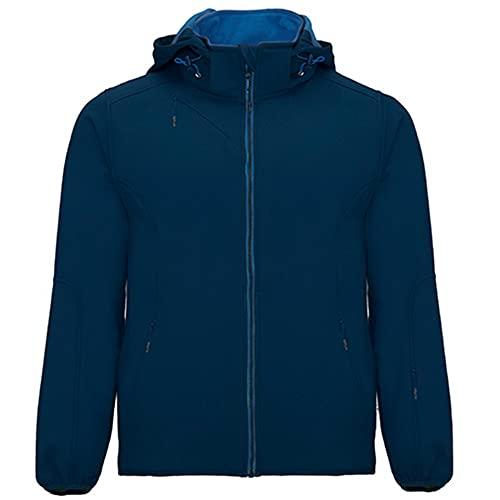 Roly Siberia R6428 - Chaqueta de hombre Softshell cortavientos impermeable con capucha, forro polar azul navy XXL