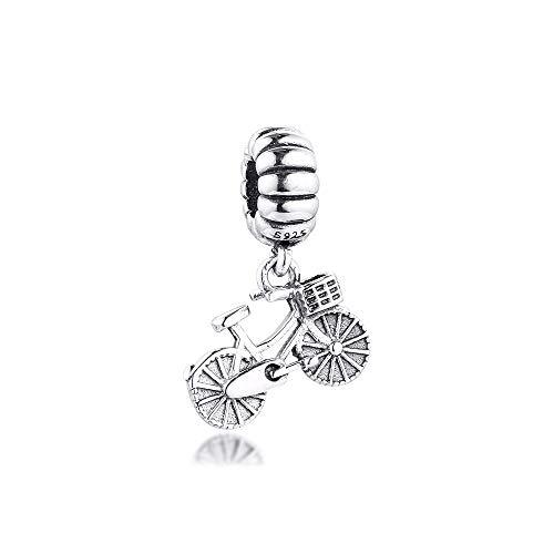 QIAMUCJC 925 Sterling silverCKK Fit Pandora Pulsera Bicicleta Deporte cuelga los Abalorios de la Bicicleta DIY joyería Que Hace baratijas Enteras