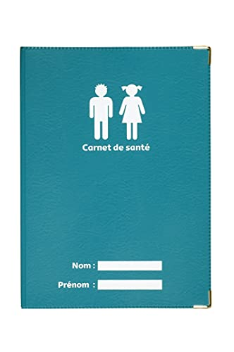 Protège carnet de santé Bleu pétrole Fabrication Française Simili Cuir Renfort métal aux Angles Porte étui Enfants Adultes