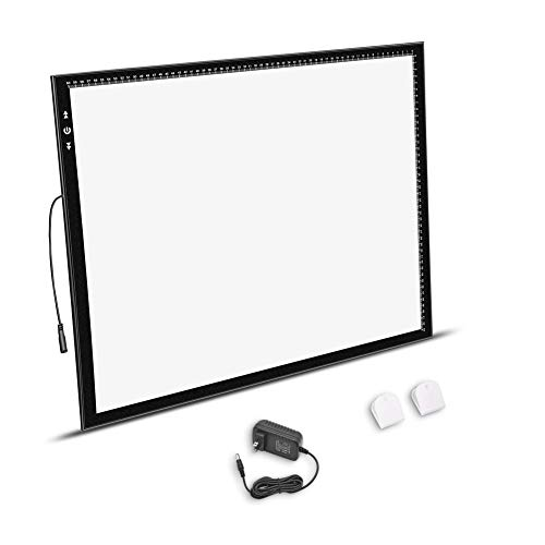 HSK A2 Light Box Light Pad Aluminium Frame Super Thin 6.5mm/0.26inches Touch Dimmer 20W Super Bright LED 12V 2A Adapter…