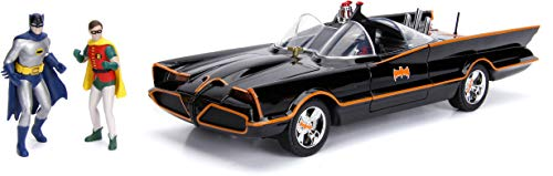 Jada 98625 DC Comics Classic TV Series Batmobile Die-cast Car, 1:18 Scale Vehicle & 3' Batman & Robin Collectible Figurine 100% Metal, Black