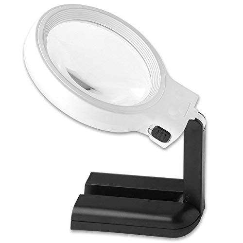 Faltbare 10 LED-Lupe mit Standfaltung Desktop-Handlupe 10-fache Vergrößerung 20-mal fürSenioren Lesen,Kennzeichnung,Wartung Tischlampe,Handarbeiten, Reparatur & Hobby