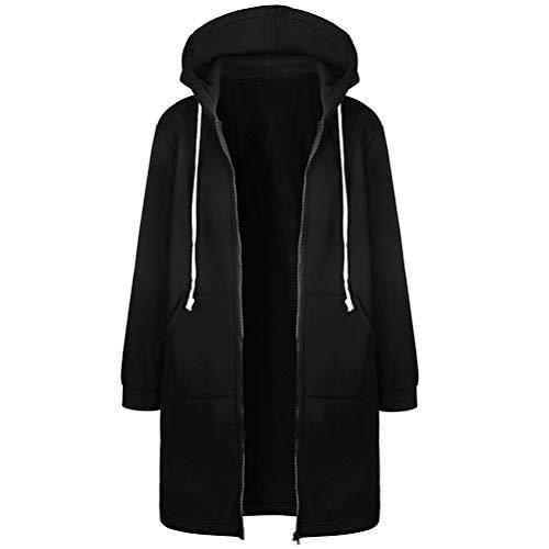SODSIM Kapuzenpullover Damen Lang Zipped Hoodie Sweatshirtjacke mit Kapuze Winter Kapuzenjacke mit Reißverschluss