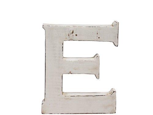 "kadoh Buchstabe ""E"" (medium) Holz Höhe 20 cm Vintagelook shabby-chic creme-weiß"