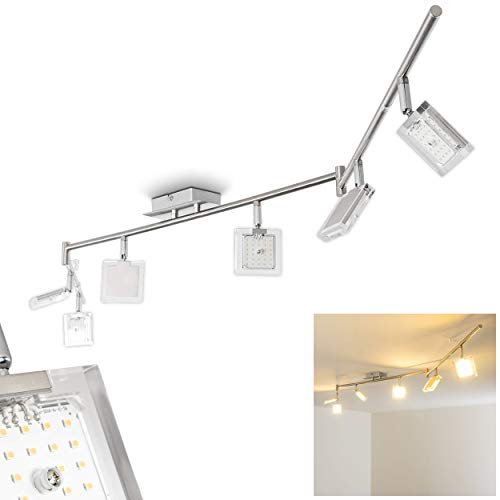 LED Deckenleuchte Kiruna, Deckenlampe aus Metall in Chrom/Nickel-matt, 6-flammig mit verstellbaren Leuchtenköpfen, 6 x 4 Watt, 2520 Lumen insgesamt, Lichtfarbe 3000 Kelvin (warmweiß)