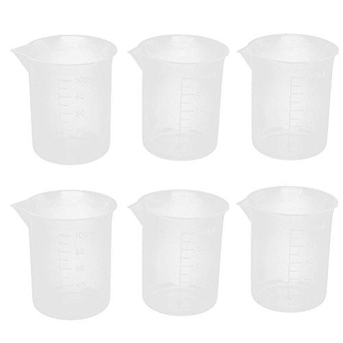UEETEK 6pcs vasos de plásticos de 100mL medir tazas recipiente de líquido de laboratorio