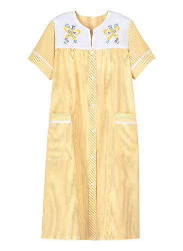 AmeriMark Women's Embroidered House Coat – Short Sleeve Dress with Front Pockets Sunshine 02X