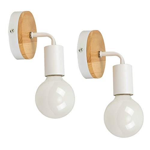 JINYU 2-pack vit minimalistisk ek trä dekor vägg belysning upp/ner inomhus dekorativ lampa upptändare nedtändare, rustik lantlig vintage loft sängbord vägg lampett fixtur montering retro Edison lampor E27