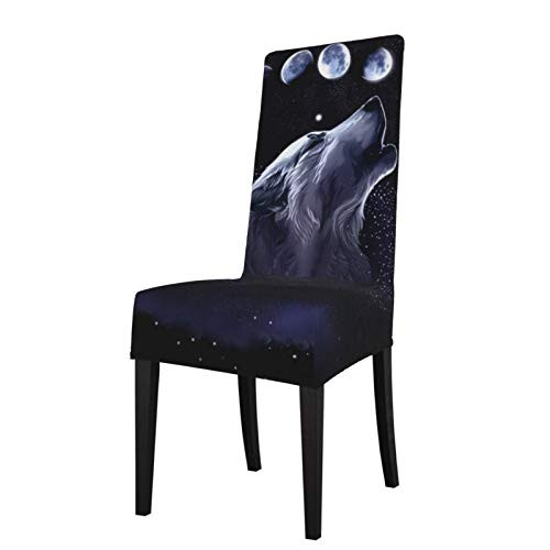281 Wolf Space Moon Comfort Protection Chair Covers for Dining Room Stretch Printed Chair, Removable and Washable