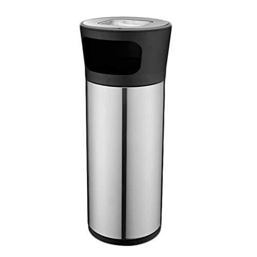 Cubos de Basura para Exterior Contenedores de reciclaje, Cubos de basura de acero inoxidable con bote de basura de cenicero, Papelera de almacenamiento de basura Basura y reciclaje Cubos de basura par