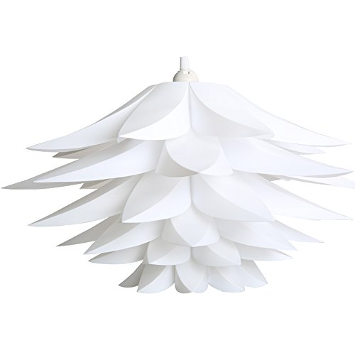 Lightingsky DIY IQ Jigsaw Puzzle Toy Lotus Flower Lamp Shade Ceiling Pendant for Room Decoration (1, White)