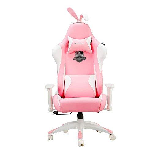 N/Z Équipement Quotidien Chaise de Jeu Ergonomique Rose Mignon en Cuir PU Table de Bureau de Course à Dossier Haut et chaises Oreilles de Lapin