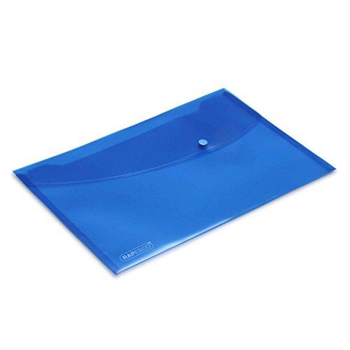 Rapesco 0687 Transparente Dokumentenmappe mit Druckknopf, A4 (blau) , 5er Pack