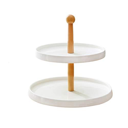 Cerámica de estilo europeo Cerámica Cake Pastel de doble capa Soporte de fruta creativa Decoración de la mesa Decoración del postre Pastelería Bandeja Tiempo dulce para la fiesta de té de la tarde