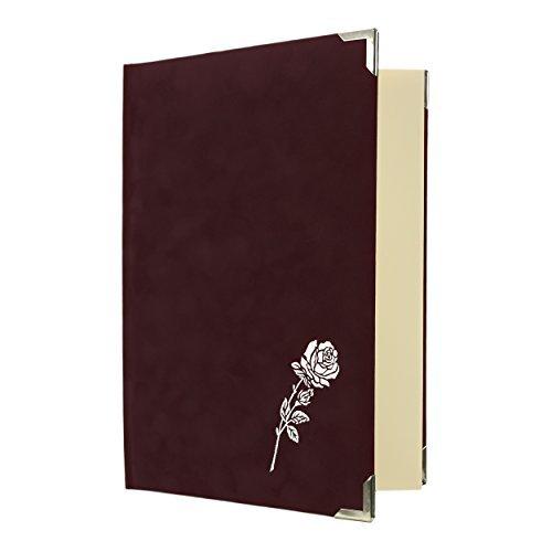 Libro di cordoglio con Rosa Velour 96 Lati - rosso
