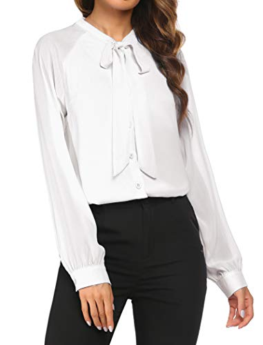 ACEVOG Women Bow Tie Neck Long Sleeve Patchwork Casual Button Down Shirt 1white Small