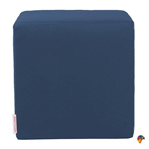 Arketicom Dado Pouf Design Cube Repose Pied Tabouret Cuir Dehoussable Blu Nuit 42x52