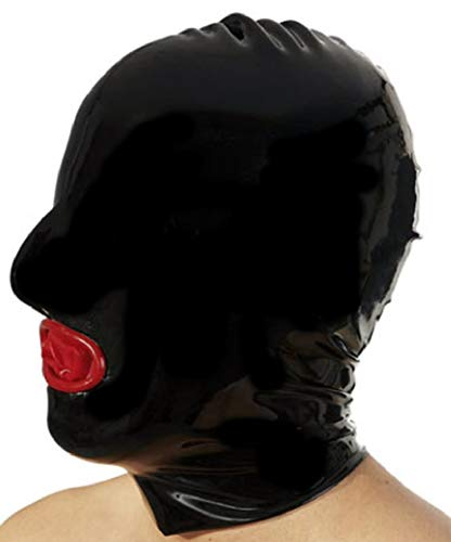 Latex Hood with Rear Zipper and Condom Mouth (Medium)