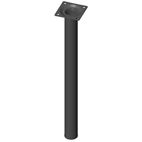 Element System 4 Stück Stahlrohrfüße rund, Tischbeine, Möbelfüße inklusive Anschraubplatte, Länge 40 cm, Durchmesser 30 mm, 4 Farben, 11 Abmessungen, schwarz, 11100-00049