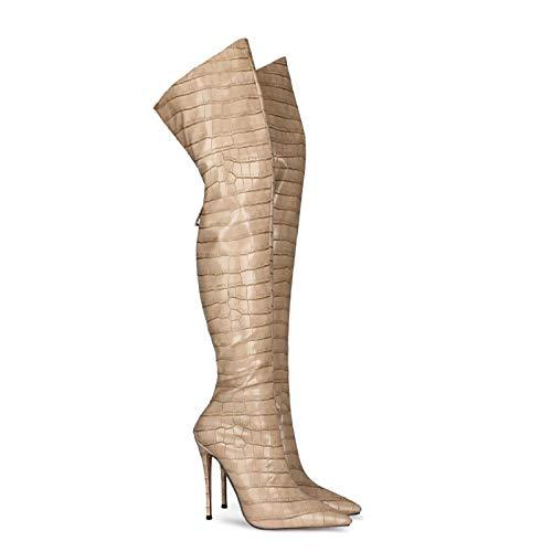 QSMGRBGZ Botas para mujer sobre las rodillas, otoño/invierno, muslo de alta elasticidad, tacones altos, 4,7 pulgadas, zapatos sexys con patrón de piedra, botas de danza, suela de goma, beige, 45EU