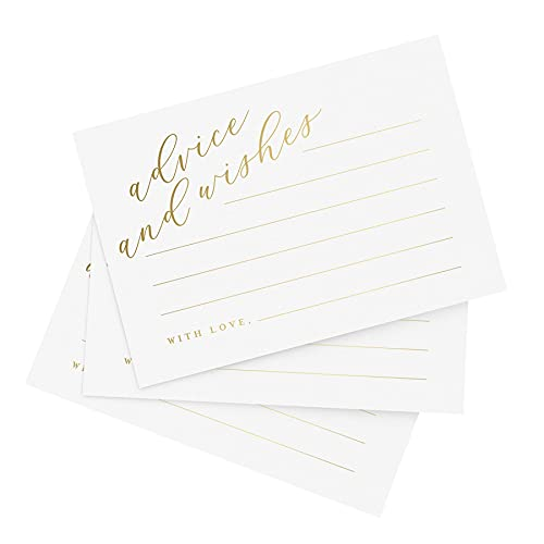 Bliss Collections Advice and Wishes Cards - 50 Cards with Real Gold Lettering, 4x6 Heavyweight Card Stock for Weddings, Wedding Receptions, Bridal Showers, Essential Wedding Decorations