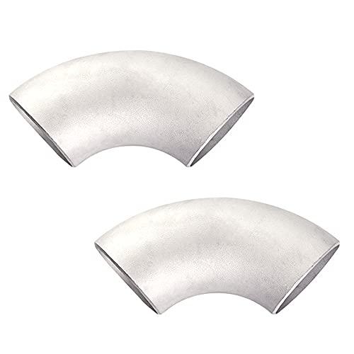 RoxNvm Codo de tubería de acero inoxidable, Codo de soldadura, Codo de 90 grados para soldar a tope, codo de soldadura de tubería, diámetro exterior de 45 mm, grosor de 3 mm (2 piezas)
