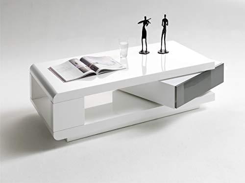 PEGANE Table Basse pivotant Coloris Blanc laqué Brillant et Gris - L120 x H36 x P60 cm