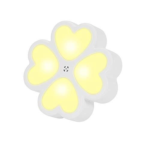 Winbang LED Nachtlicht, vierblättriges Kleeblatt Nachtlicht Lampe Steckwand mit lichtempfindlichem Sensor für Kinder Erwachsene Home Room Nursing Hallway Stairs Warm White
