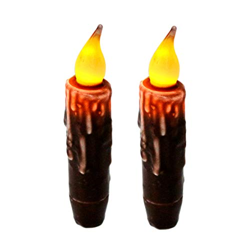 CVHOMEDECO. Real Wax Hand Dipped Battery Operated LED Timer Taper Candles Country Primitive Flameless Lights Décor, 4.75 Inch, Brown, 2 PCS in a Package