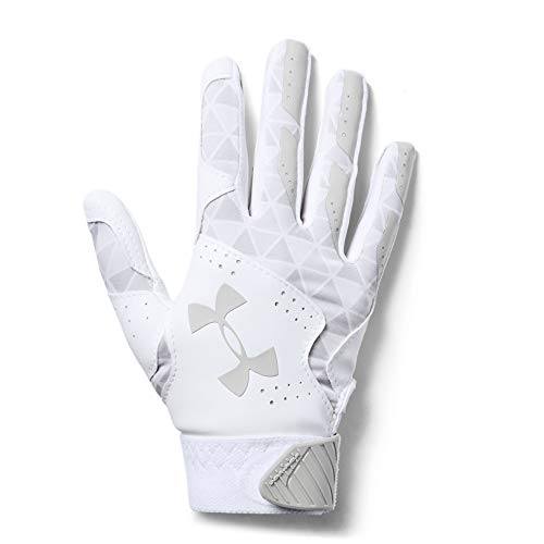 Under Armour Girls' Radar Softball Batting Gloves, White//Metallic Silver, Youth Medium