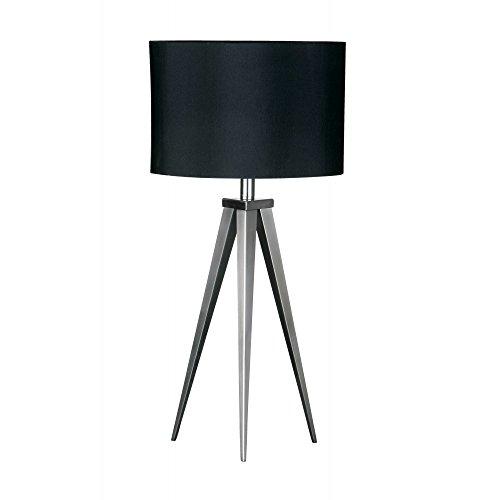 Fusion Living Lámpara de mesa de pequeño trípode de níquel satinado con pantalla en negro