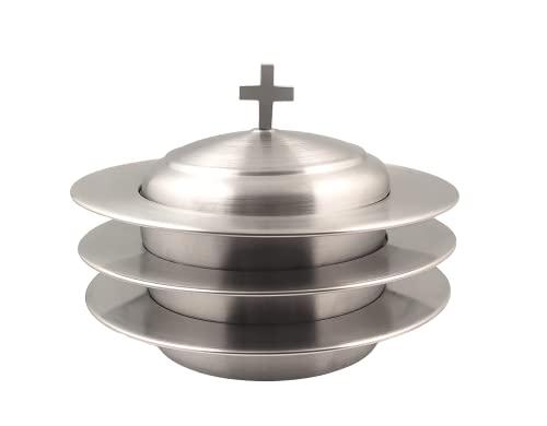 Comunion Ware 3 Holy - Plato apilable para pan con tapa (acero inoxidable, acabado mate)