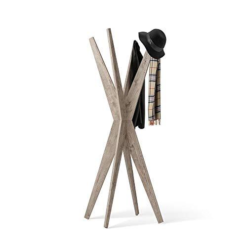 Mobili Fiver, Appendiabiti da Terra di Design, Emma Quercia, 80 x 80 x 170,5 cm, Nobilitato, Made in Italy, Disponibile in Vari Colori