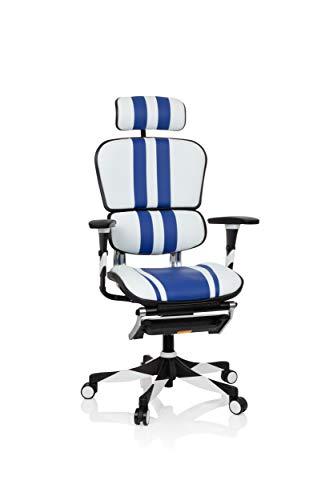 hjh OFFICE 652421 Gaming Bürostuhl ERGOHUMAN Elite Leder Weiß/Blau Computerstuhl Drehstuhl ergonomisch, mit Vollausstattung