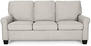 Best Christopher Knight Home Bridget 3-Seater Sofa, Traditional, Modern, Beige, Dark Brown