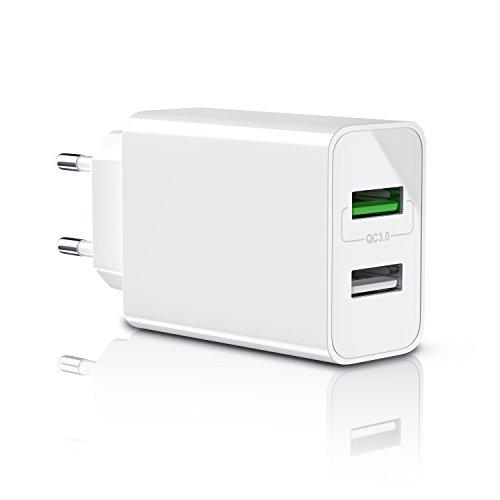 CSL-Computer Aplic - 30W Caricabatterie da Muro - Quick Charge 3.0 Alimentatore Parete USB con 2 Porte - Adattatore di Ricarica Rapida - Tecnologia Smart Charge