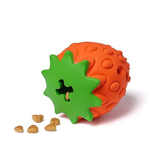 PUPWONG Hundespielzeug unzerstörbar für Aggressive Kauer Zahnreinigung, interaktives Kauspielzeug für mittlere Hunde gegen Langeweile (Erdbeere)