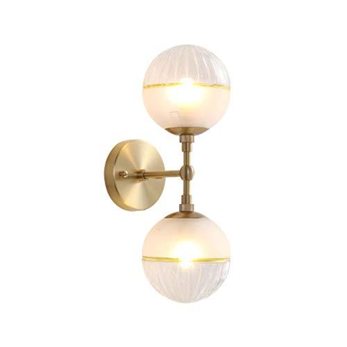 Pointhx Lámpara de pared de cobre con doble cabezal, G9, 2 luces, lámpara de noche para salón, pasillo, bar, cocina, isla